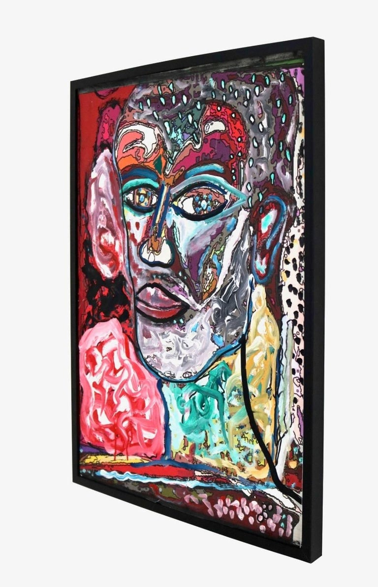 Self Portrait - Gray Abstract Painting by Enzio Wenk
