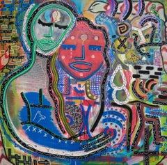 """""""Coppia di innamorati di diversa etnia"""" by Enzio Wenk, 2016 - Acrylic on Canvas"""