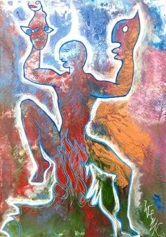 """Figura Danzante"" by Enzio Wenk, 2018 -Acrylic, Enamel, Figurative Expressionism"