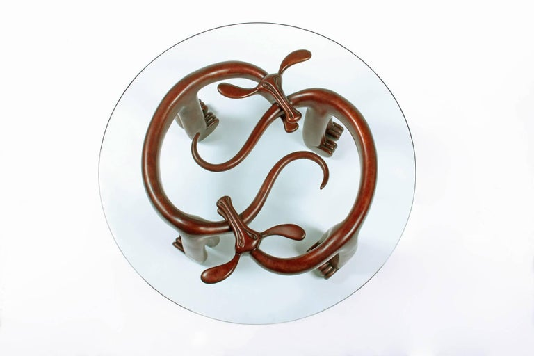Judy Kensley Mckie Dog Bites Tail Table Bench Bronze