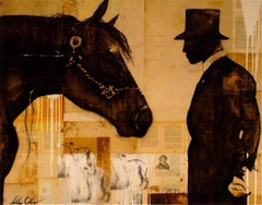 Mr. Brown, Sepia Mixed Media Painting, man with horse