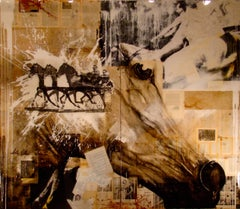Mist, Beige and Sepia Mixed Media Painting with horse