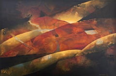 Along The Dark Edges- Red oxide Abstract Painting Oil on Canvas
