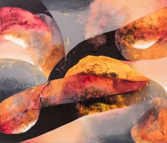 Hemisphere 2-  large horizontal Black Orange and Red Abstract Painting