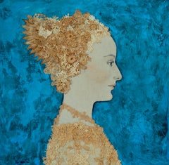 Nilda- Blue Teal and gold, Mixed Media