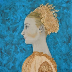 Esther- Blie Teal  and gold Mixed Media