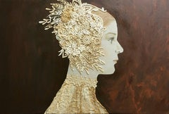 """""""Liliam"""" Contemporary Mixed Media Dark Sepia Red Background and Gold"""