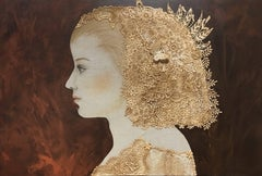 """""""Margarita"""" Contemporary Mixed Media Dark Sepia Red background and Gold"""