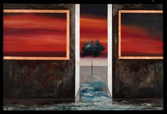 Terra do Fogo surreal painting oil on canvas- sunset red