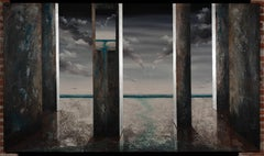 Corredor de Tornados surreal painting oil on canvas- large