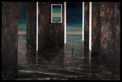 Tsunami II- surreal painting blue grey shades