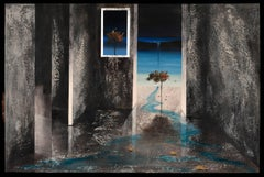 Blue Water- surreal painting blue grey shades