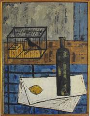 Still Life with Raven, Lemon and Wine Bottle