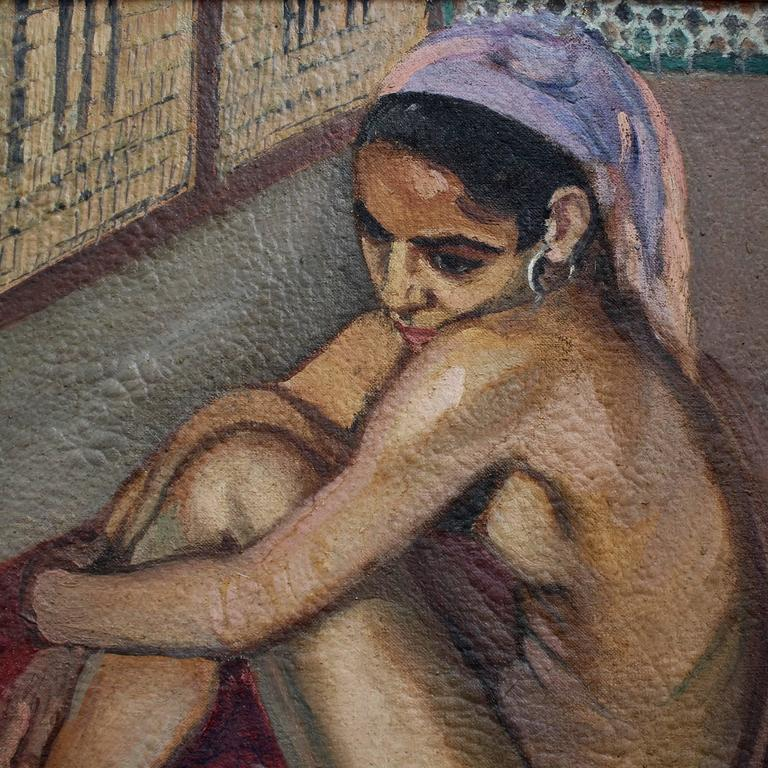 Nude Moroccan Woman - Expressionist Painting by Albert Horel