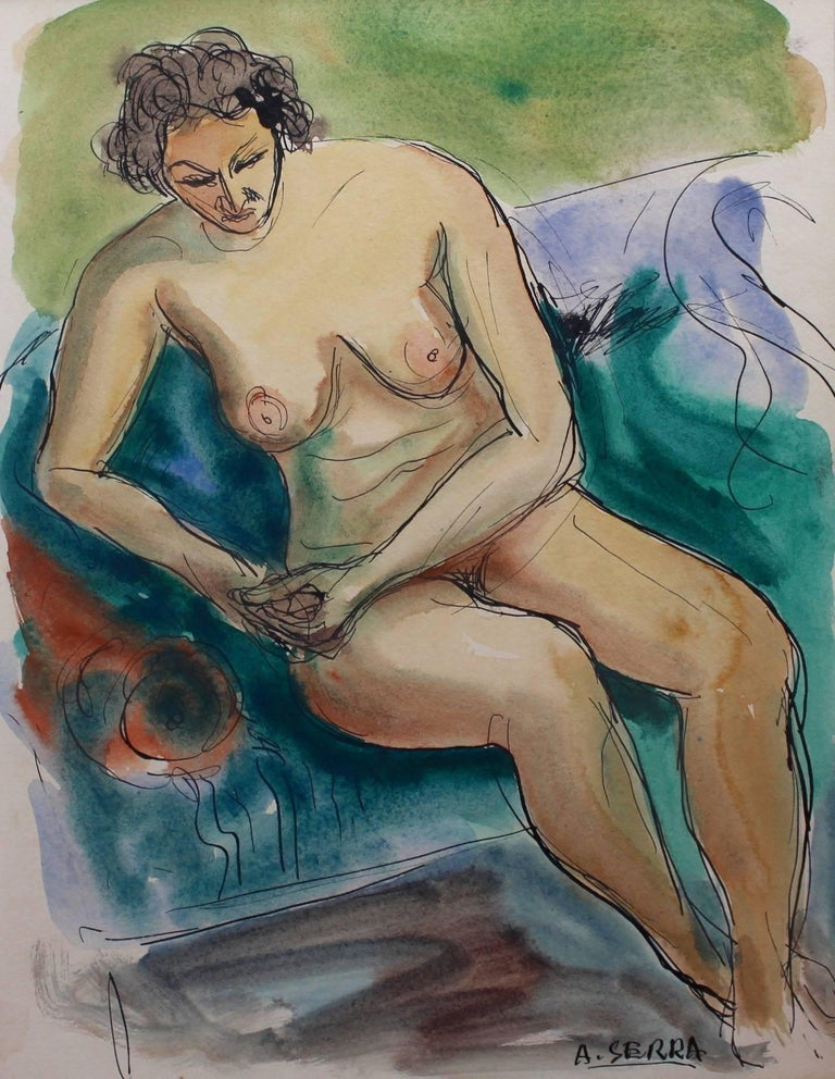 In 'Seated Nude Woman', ink and gouache on paper (circa 1960s), Serra's ability to capture a mood and a moment in time is on display. His paintbrush records his nude subject seated somewhat awkwardly on a sofa leaning slightly on the arm rest for