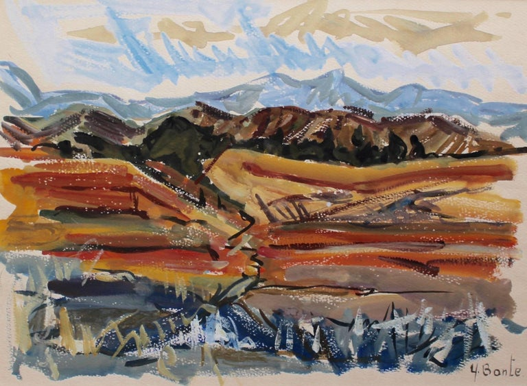 'Autumn in Provence' by Yvette Bonte (1925 -    ) gouache on fine paper (c. 1960s). An autumnal view of Provence in the south of France inspired by the region's famous luminosity. Mountains in the distance are covered by a blustery blue Mistral sky