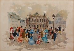 'Opera Garnier Paris' by Urbain Huchet, Limited Edition Lithograph, circa 1980s