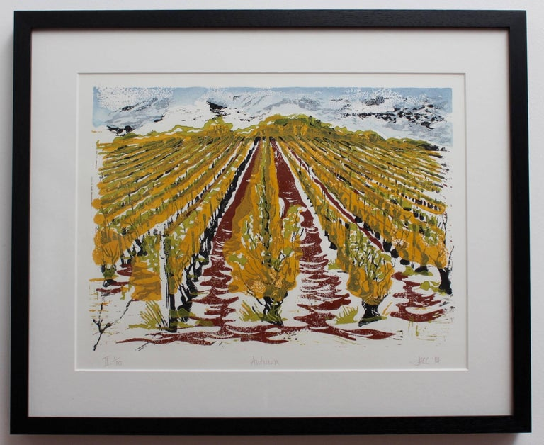 Set of Four Burgundy Vineyard Seasonal Views For Sale 1
