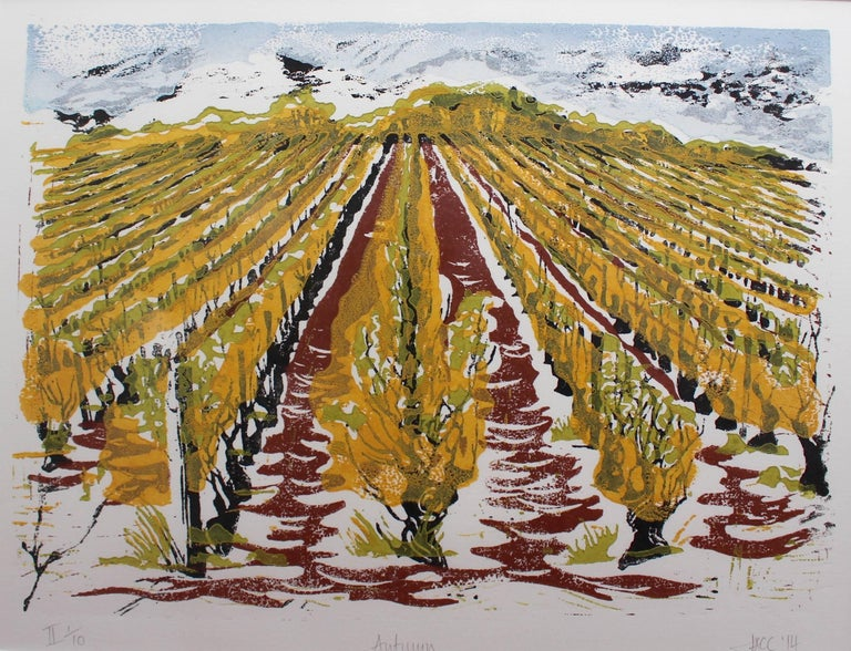Four seasonal views of a Burgundian vineyard form this wine lover's set of limited linocut prints by American artist and ceramicist Jonquil Cook. A line of hilltop trees overlooks a vineyard near the village of Cruzille in the Côtes Maconnaise of