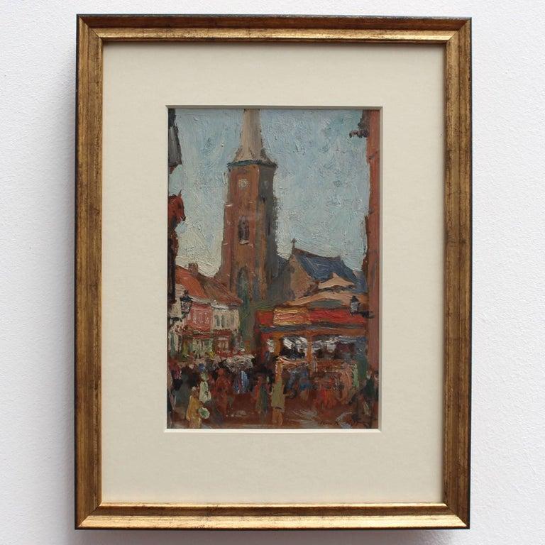 'Belgian Market Square' by Jean-René Nys, Saint-Amand Church, Mouscron, Belgian For Sale 2
