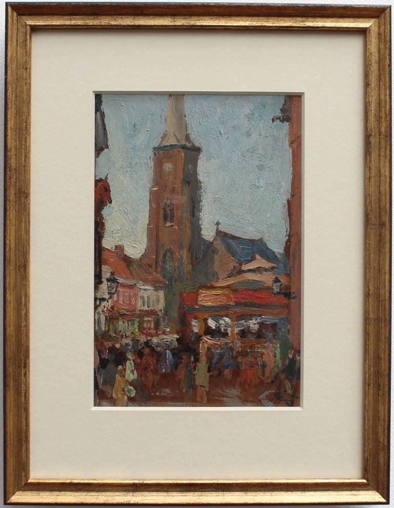 'Belgian Market Square' by Jean-René Nys, Saint-Amand Church, Mouscron, Belgian For Sale 1