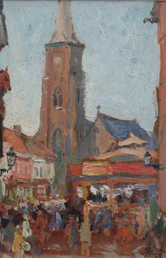 'Belgian Market Square' by Jean-René Nys, Saint-Amand Church, Mouscron, Belgian