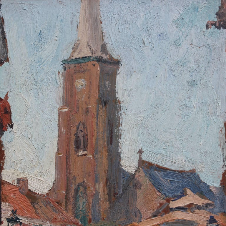 'Belgian Market Square' by Jean-René Nys, Saint-Amand Church, Mouscron, Belgian For Sale 4