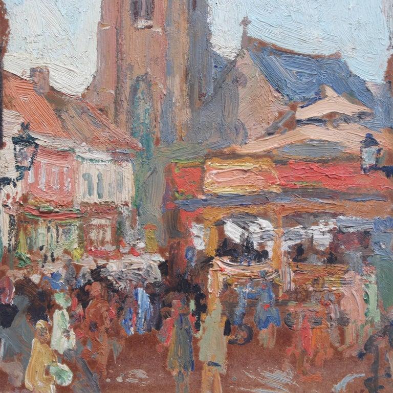 'Belgian Market Square' by Jean-René Nys, Saint-Amand Church, Mouscron, Belgian For Sale 5