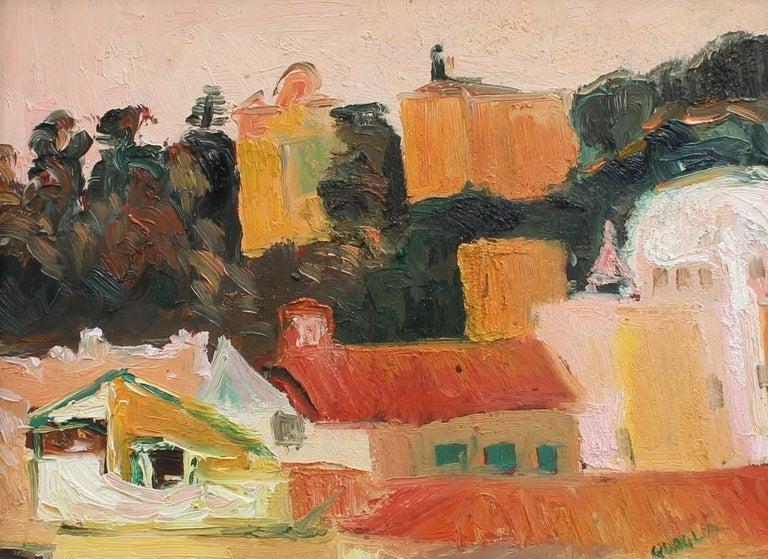 Carlo Quaglia Umbrian Hillside Vista Painting At 1stdibs
