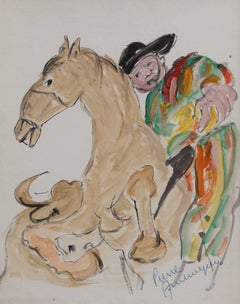 'The Picador' by Pierre Ambrogiani, Bullfight Figurative Watercolour Painting