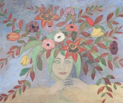M J d'Ayzé, 'Flowered Lady', 1925, Grand Scale French Oil Painting