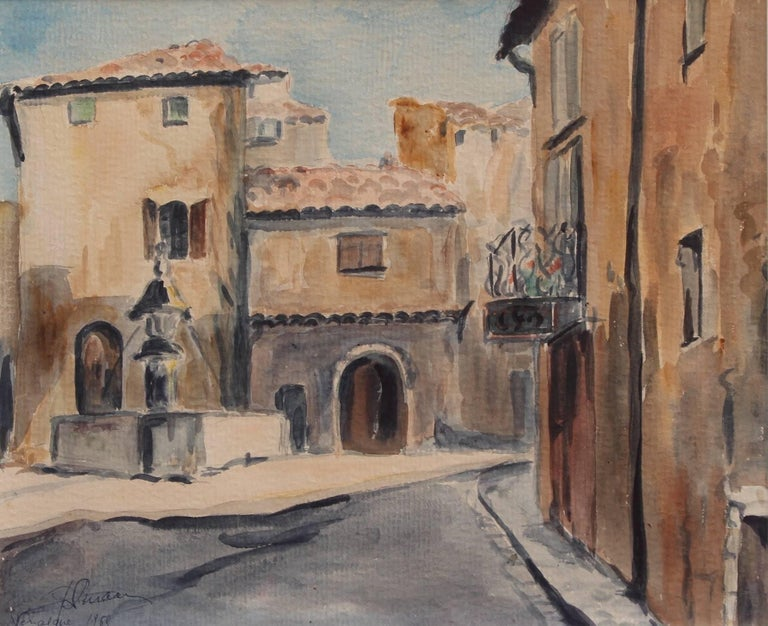'Venasque Village Scene 2 - France', watercolour on paper by unknown (1965). Perched at the summit of a rocky outcrop, Venasque is a picturesque village classed amongst one of the most beautiful villages in France. Located in the Vaucluse department
