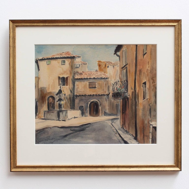 Venasque Village Scene 2, Mid-Century Watercolour Landscape Painting, France For Sale 1