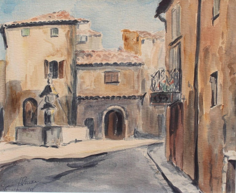 Venasque Village Scene 2, Mid-Century Watercolour Landscape Painting, France For Sale 6
