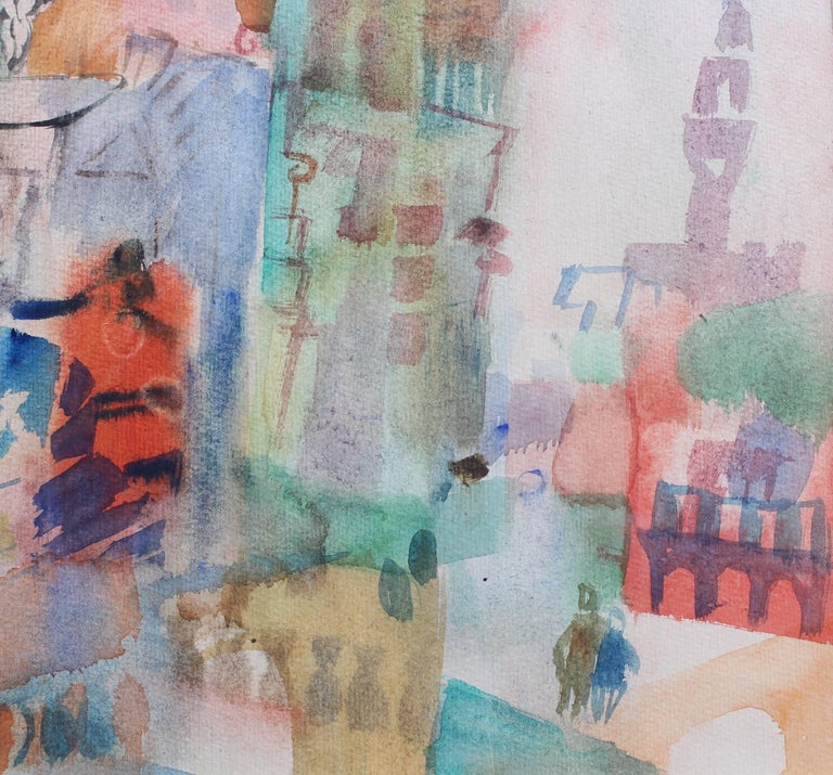'Views of Florence', watercolour on paper (circa 1950s), by Marcella. A delightful, vivid composition of Florence, Italy's monuments, buildings, people and colours are depicted in this work. Ammanati's fountain, the Palazzo Vecchio and snippets of