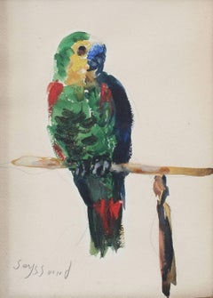 'The Parakeet' by René Seyssaud, Watercolour Bird Portrait Painting, c. 1930s