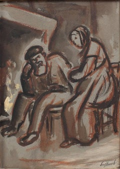 'The Couple in Front of the Fireplace' by René Seyssaud, Watercolour c. 1930s