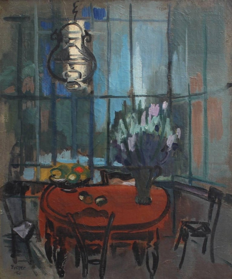 'Interieur', oil on canvas (1950), by Lili Pieter Van Leer (1905 - 1966). The sensuous mood captured by the artist in this work is extraordinary. The subdued colours of the evening light seep through the delicate conservatory-style windows. The