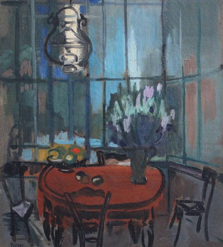 'Interieur' by Lili Pieter Van Leer, Mid-Century Modern Oil Painting, 1950 For Sale 4