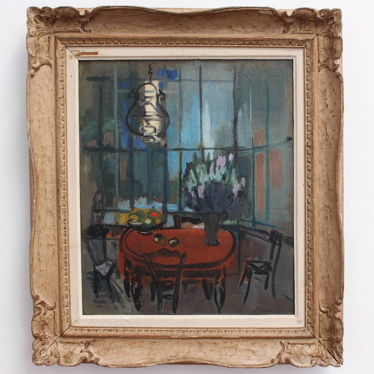 'Interieur' by Lili Pieter Van Leer, Mid-Century Modern Oil Painting, 1950 For Sale 1
