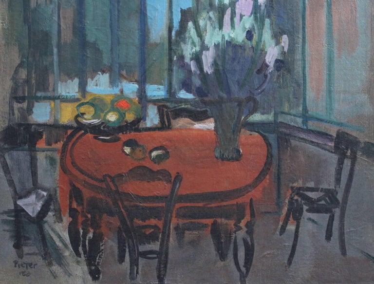 'Interieur' by Lili Pieter Van Leer, Mid-Century Modern Oil Painting, 1950 For Sale 5