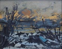 'Sunset in Provençal Wetlands' by Wilhelm Goliasch, Landscape Oil Painting, 1980