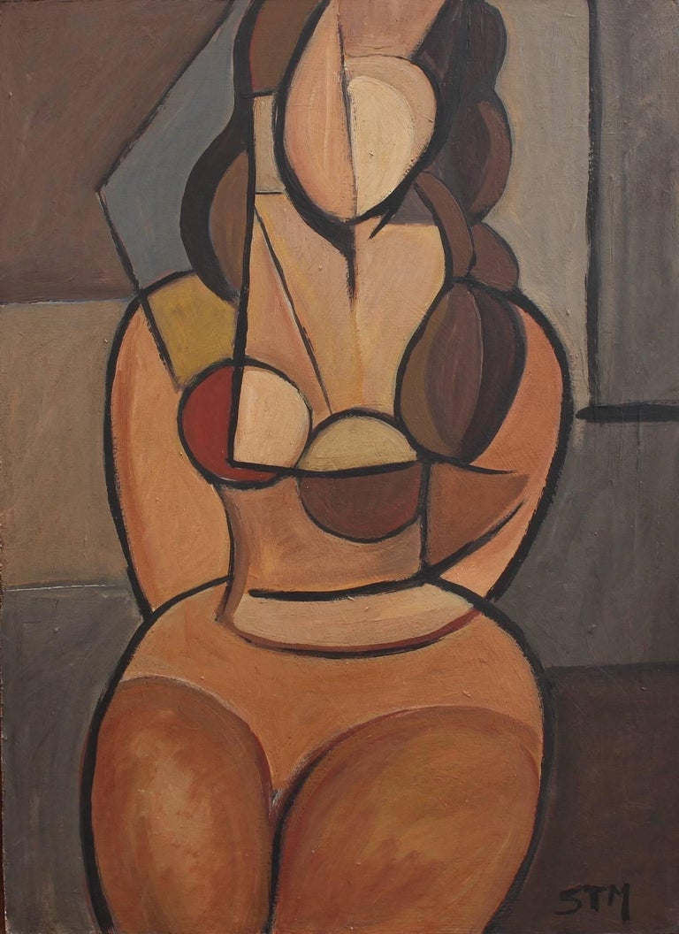 Unknown Portrait Painting - Seated Cubist Nude