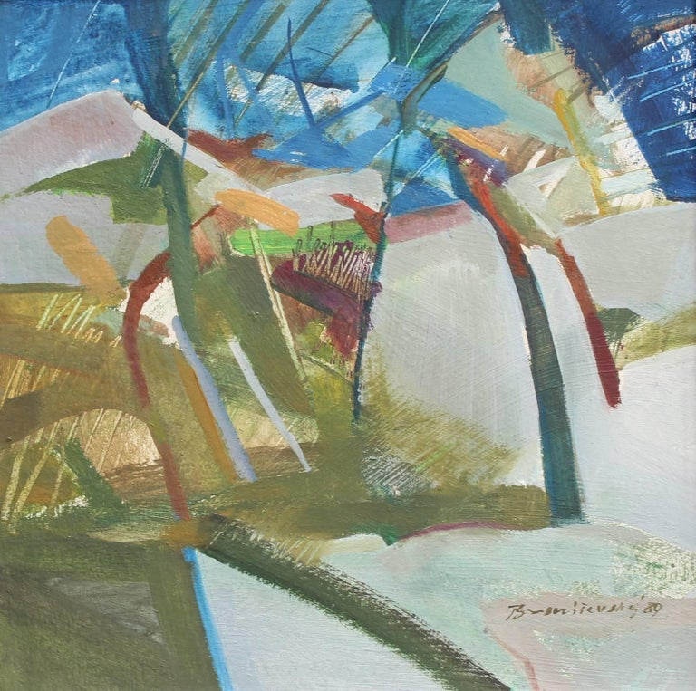 'Transformation', oil on board (1989), by Vladimir Broniševsky (b. 1953). 1989 marked the artist's country's transformation to democracy. That wonderful evolution is reflected in this colourfully abstract painting. This modern piece is filled to the