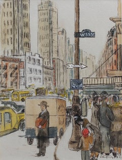 'New York West 55th Street' by Albert Jacquez, Mid-Century Modern American Art