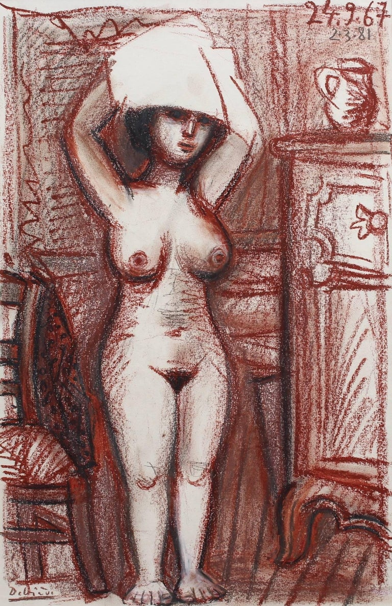 'Nude Woman Drying Her Hair', crayon and pencil on fine paper (1967), by Raymond Dèbieve (1931 - 2011). A shapely woman has just finished bathing and is drying her hair in the privacy of her bedroom. Her gaze suggests however, she is aware of the