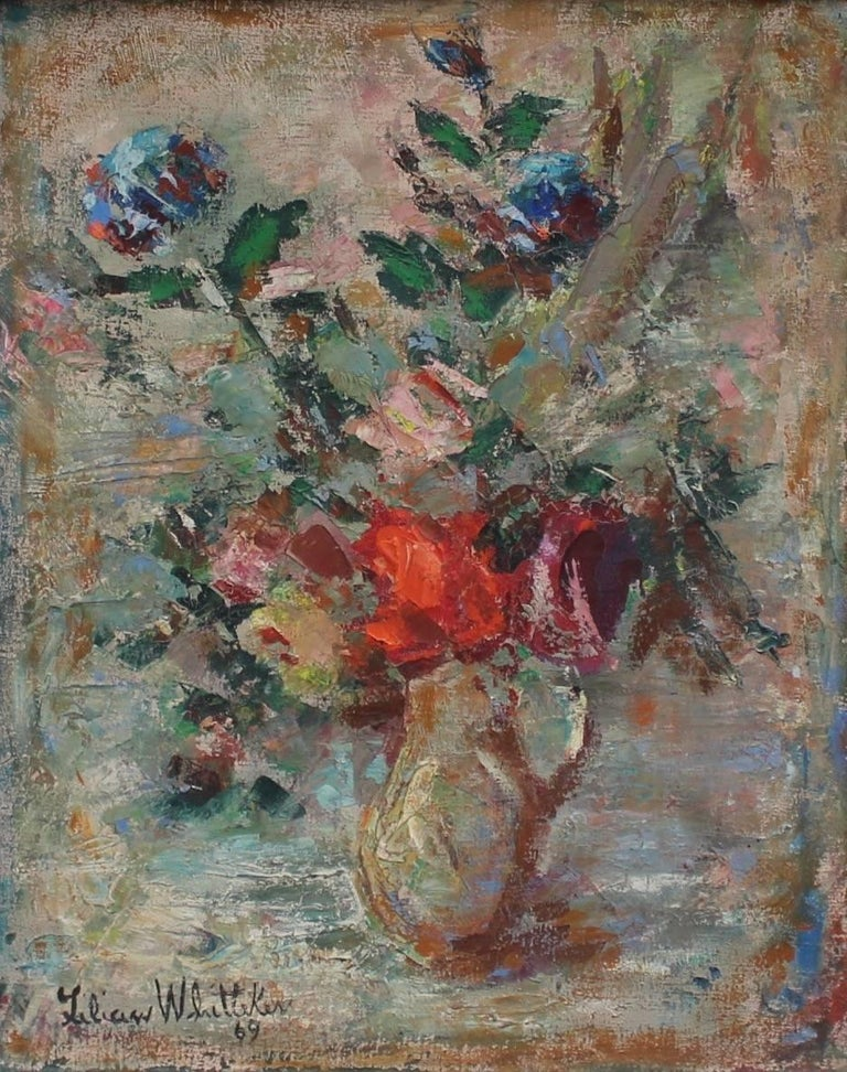 Lilian E. Whitteker - Bouquet of Flowers in Water Jug, Painting For ...