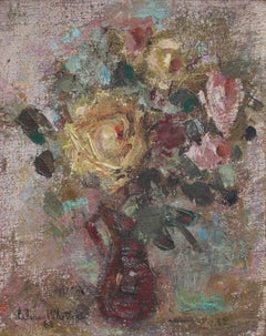 Bouquet of Flowers in Red Vase