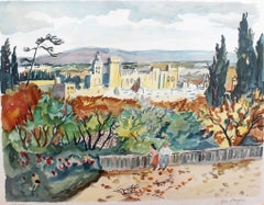 Yves Brayer, 'View of Avignon', Original Artist's Proof Signed Lithograph