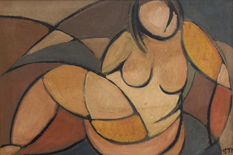 STM, 'Portrait of Reclining Woman', Cubist Nude Oil Painting, Circa 1950s